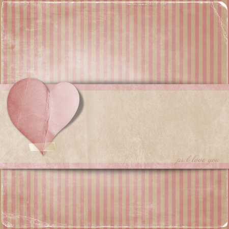 Vintage valentine background  with hearts and area for text  photo