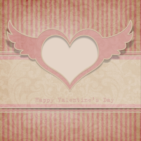 Vintage Valentine s day background with heart  photo