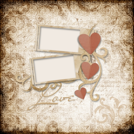 Grunge  background with stamp-frames and paper heart photo