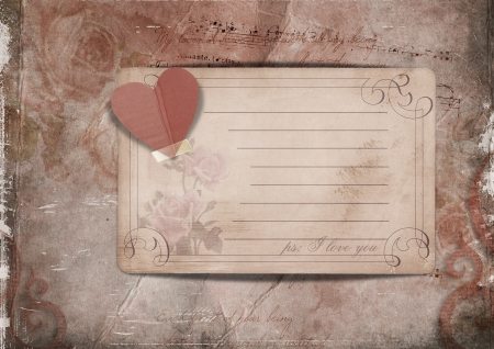 women s day: Vintage background with roses and old card