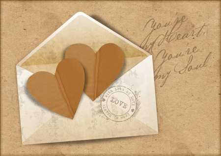 intage background with envelope and hearts