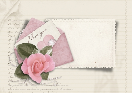 Beautiful love card  Retro postcard for Valentine  photo
