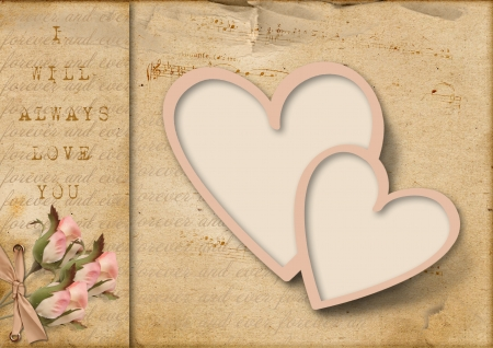 anniversary backgrounds: Vintage love card with two hearts and pink flowers