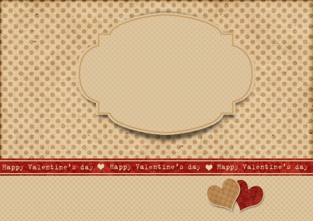 Vintage polka dot background with label  Happy Valentine s day  photo