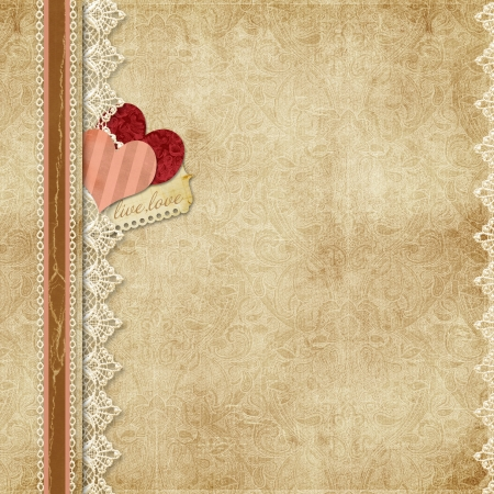 Gorgeous vintage background with lace and paper hearts  Gorgeous vintage background with lace and paper hearts