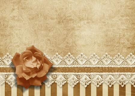 Gorgeous vintage background with lace and rose  Stock Photo