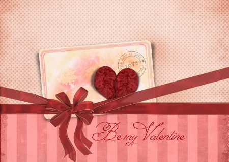 Valentine s Day card with ribbon and heart  Be my Valentine  photo