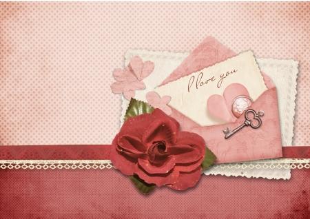 Beautiful love card  Retro postcard for Valentine  photo