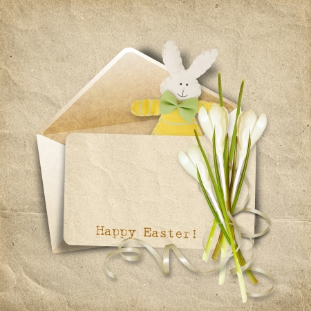 Ostern: Vintage Easter card for congratulation  with old card, bunny and  Stock Photo