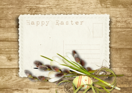 Ostern: Vintage Easter card with pussy-willow on a wooden background  Stock Photo