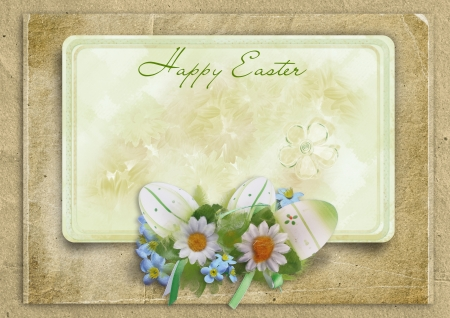 Easter frame with eggs and bunny on a vintage background  Easter frame with eggs and bunny on a vintage background  photo