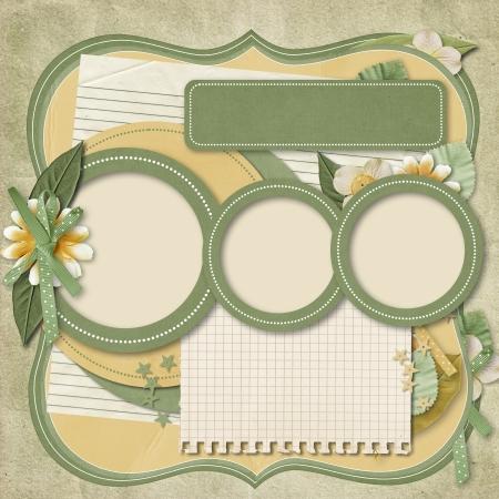 cronologia: Retro �lbumes familiares 365 plantillas de proyecto Scrapbooking Foto de archivo