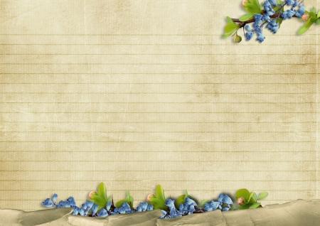 青い花とビンテージ背景 写真素材
