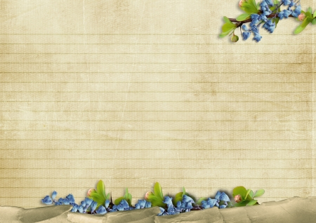 Vintage background with blue flowers