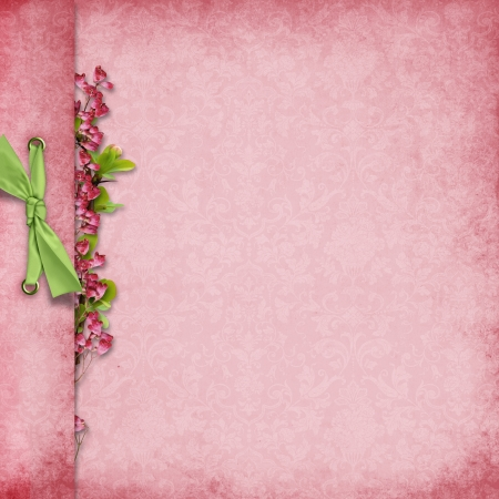 pink ribbons: Elegant background with bow and flowers