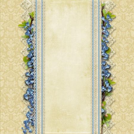 レースと青の花を持つヴィンテージの見事な背景にレース、青花のヴィンテージの見事な背景
