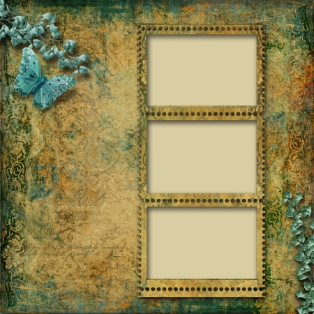 Beautiful vintage background with photo-frame  photo