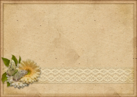 paperboard: Vintage paperboard background with gerbera and lace