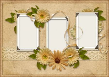 old family: Vintage background with photo-frames and gerbera