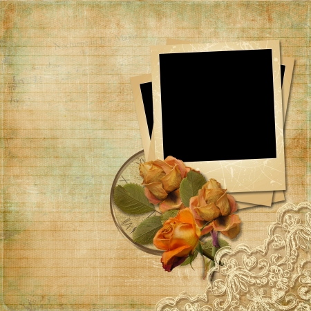 Vintage background with frame and faded roses  photo