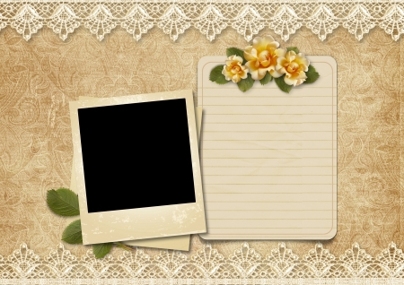 photoalbum: Vintage lace background with old polaroid-frame and rose