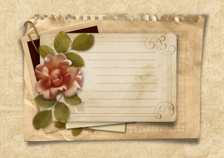 Vintage background with old postcard and rose photo
