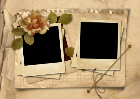 Vintage background with old frames and rose photo