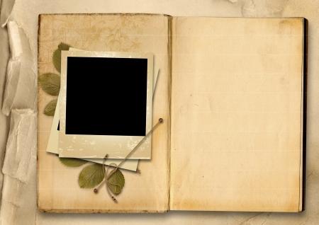 arbol genealógico: Álbum de fotos de época con la vieja foto-marco Foto de archivo