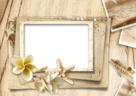 burnt edges: Vintage background with photo-frames and seashells