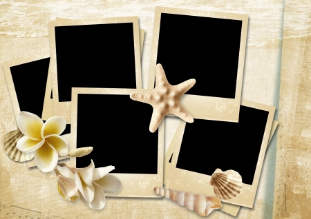 old papers: Vintage background with photo-frames and seashells