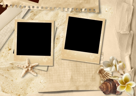 Vintage background with photo-frame and seashells