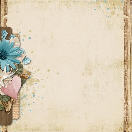 ターコイズ花と心とビンテージ背景