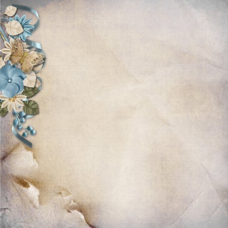 Vintage background with turquoise flowers