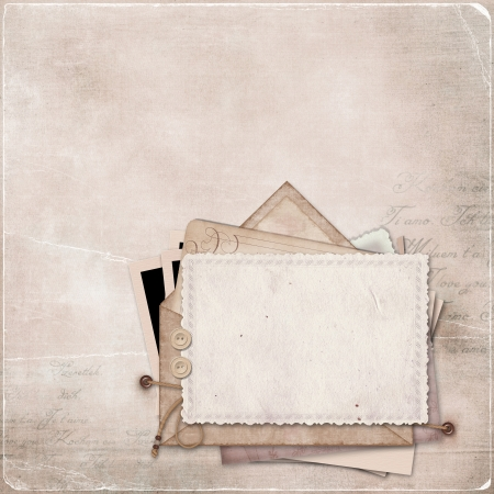 Vintage background with a stack of old postcards and letters  Vintage background with a stack of old postcards and letters Stock Photo