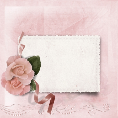 Vintage elegance background with card and rose