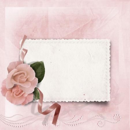 wedding photo frame: Vintage elegance background with card and rose