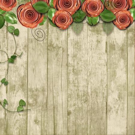 古い木製の背景紙のバラとテキスト o 古い木製の背景紙のバラとテキスト用のスペースのためのスペース 写真素材