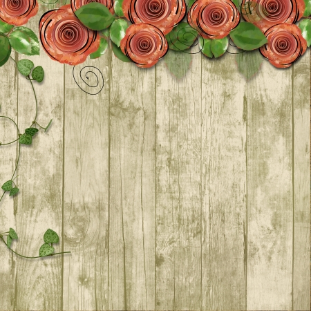 Old wooden background with paper roses and with space for text o Old wooden background with paper roses and with space for text