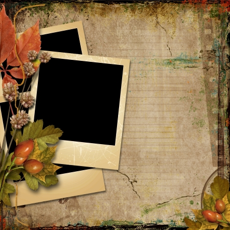 old postcards:  Grunge background with old postcards and autumn leaves  Grunge background with old postcards and autumn leaves