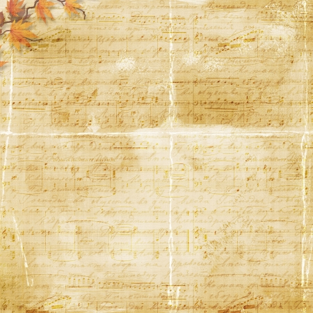 background with notes and autumn leaves photo