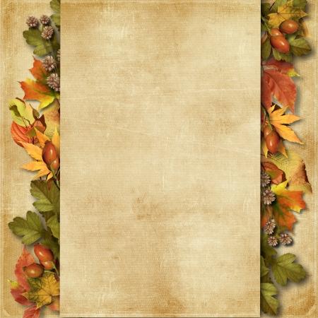 秋の紅葉とグランジ背景