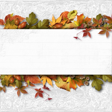congratulations: Autumn banner with leaves on a textural background