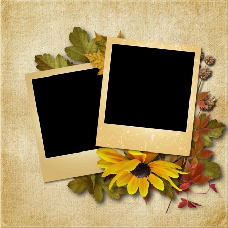 vintage background with photo-frame and autumn leaves  photo