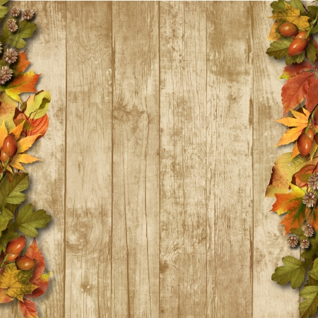 burnt edges: vintage wooden background with autumn leaves