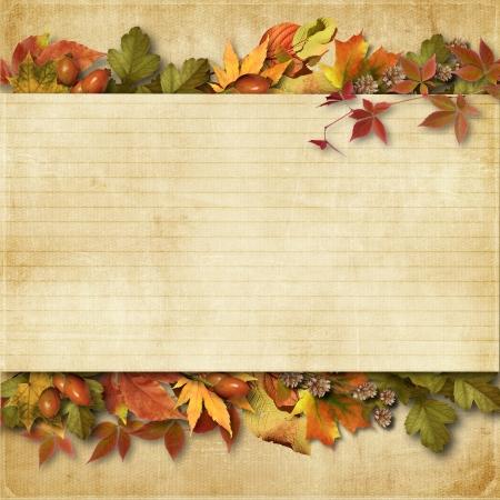 テキストや写真のための場所と秋の紅葉とビンテージ背景 写真素材