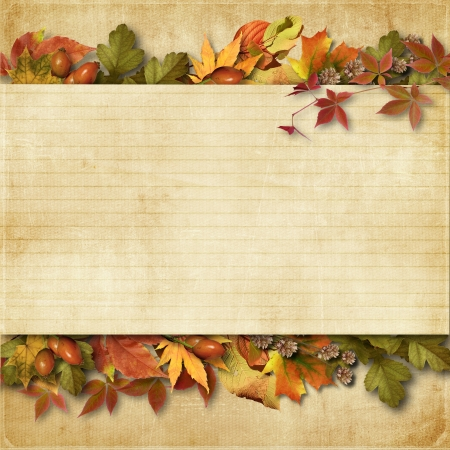 vintage background with autumn leaves with place for text or photo
