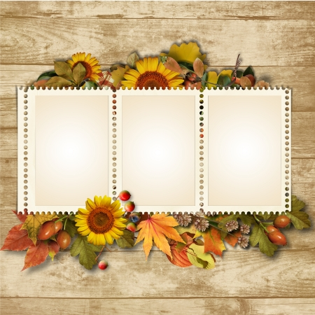 Autumn background with a banner and yellow-red leaves
