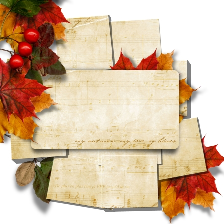 Vintage stack of cards with autumn leaves  Stock Photo