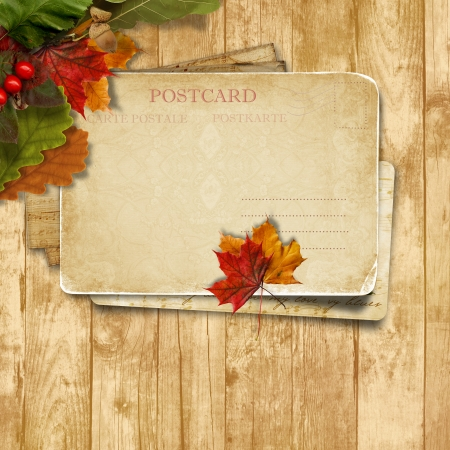 Autumn leaves over wooden background with postcard  photo