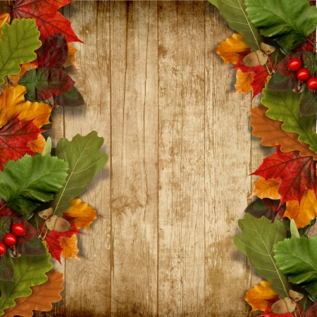 Autumn leaves over wooden background with copy space  photo